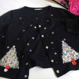 Bedazzled Christmas cardigan